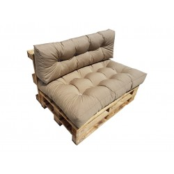 Komplet poduszek, materacy na palety jasnobrązowy