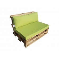 Pallet seating cushions set with zip light green