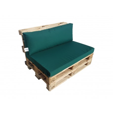 Pallet seating cushions set with zip green